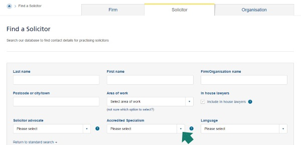 """Find a Solicitor"" Page on Law Society of Scotland Website"