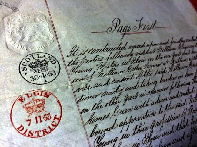 1854 Indenture Contract With Date Stamp And Elgin Stamp