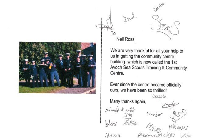 Thank You Card to Grigor & Young from 1st Avoch Sea Scouts