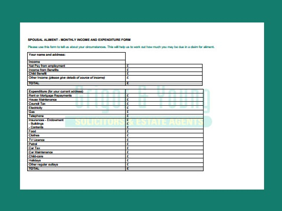 Spousal Aliment Form - Grigor & Young