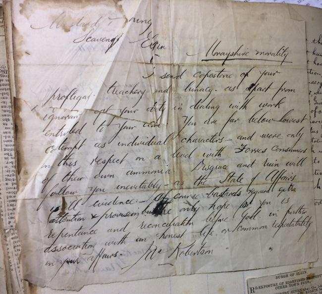 Handwritten letter from James Robertson, Nairn, to Grigor & Young, Elgin - 1911