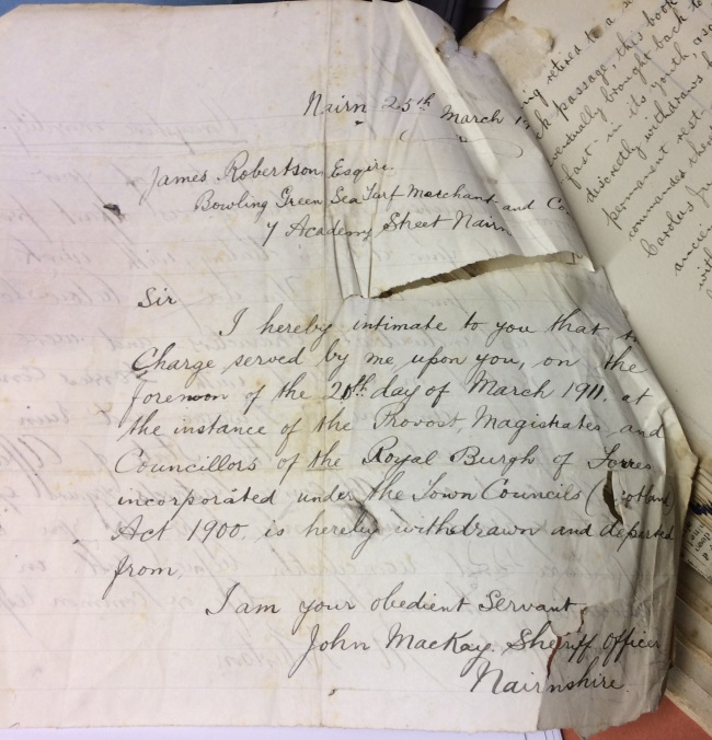 Handwritten Withdrawal of Charge for Payment - 1911