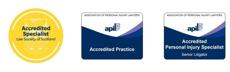 Accreditation logos for Law Society of Scotland Specialist - Association of Personal Injury Specialists: Accredited Practice and Senior Litigator