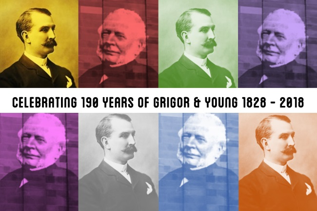 Colourful images of Robert Young and Alexander Grigor Allan, both early partners in the firm of Grigor & Young, Solicitors, Moray
