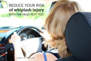 Woman with wrongly-adjusted head rest driving car