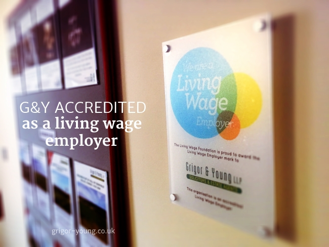 Living Wage Accreditation Plaque at Grigor & Young LLP's Elgin premises